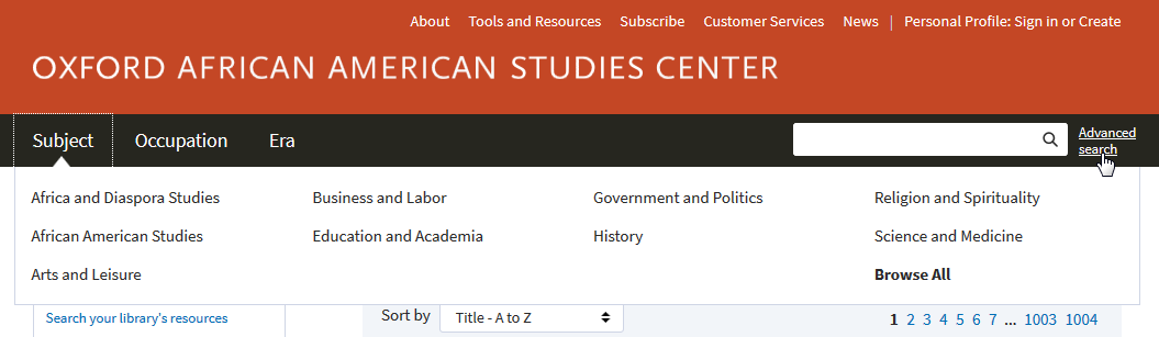 AASC new subject browse menu