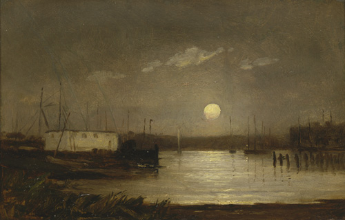 Untitled landscape painting of harbor (1868)