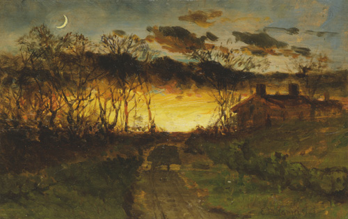 Untitled landscape painting of sunset with quarter moon (1883)