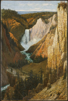 Landscape painting of waterfall in Yellowstone park (1890)