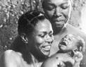 Cicely Tyson (left) and Maya Angelou (right) in a scene from the television series, Roots, 1977. Courtesy of Photofest.